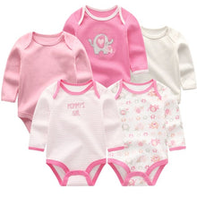 Load image into Gallery viewer, Zoomie Patterned Long Sleeve 5pc Bodysuits, Elephant, 3M - CeCe & Jax