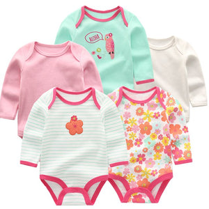 Zoomie Patterned Long Sleeve 5pc Bodysuits, Aloha, 3M - CeCe & Jax