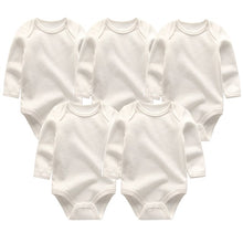 Load image into Gallery viewer, Zoomie Solid Long Sleeve 5pc Bodysuits, White, 3M - CeCe & Jax