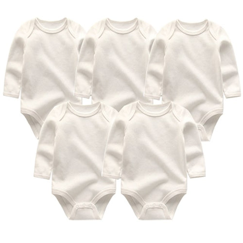 Zoomie Solid Long Sleeve 5pc Bodysuits, White, 3M - CeCe & Jax