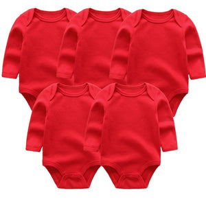 Zoomie Solid Long Sleeve 5pc Bodysuits, Red, 3M - CeCe & Jax