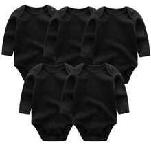 Load image into Gallery viewer, Zoomie Solid Long Sleeve 5pc Bodysuits, Black, 3M - CeCe & Jax