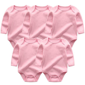 Zoomie Solid Long Sleeve 5pc Bodysuits, Pink, 3M - CeCe & Jax