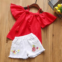 Load image into Gallery viewer, Rosie Top & Shorts Set, Red, 2T - CeCe & Jax