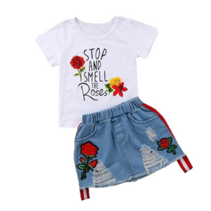Smell the Roses Shirt & Skirt Set