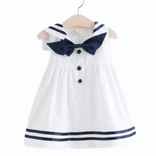 Load image into Gallery viewer, Sweetie Sailor Dress, White, 2T - CeCe & Jax