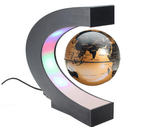 Okeebays Magnetic Levitating Desktop Globe Black And Gold With C Stand