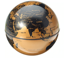 Load image into Gallery viewer, Okeebays Magnetic Levitating Desktop Globe Black and Gold