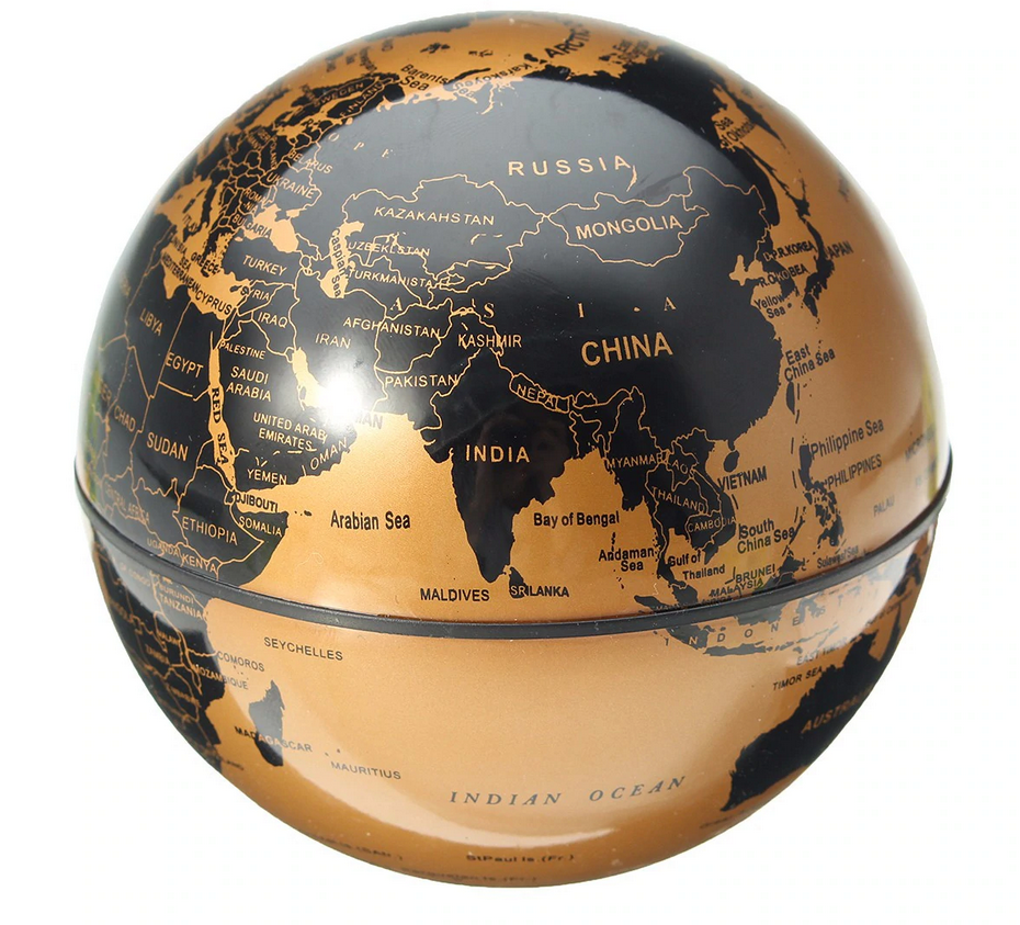Okeebays Magnetic Levitating Desktop Globe Black and Gold
