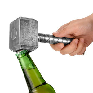 Okeegadgets Hammer of Thor Bottle Opener Silver In Use Shown With Beer