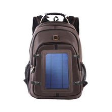 Load image into Gallery viewer, brown solar panel backpack okeegadgets