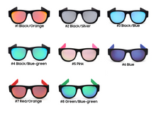 Load image into Gallery viewer, Okeegadgets polarized slap sunglasses 1-Black/Orange, 2-Black/Silver, 3-Black/Blue, 4-Black/BlueGreen, 5-Pink, 6-Blue, 7-Red/Orange, 8-Green/Blue