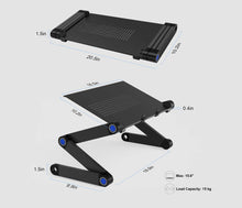 Load image into Gallery viewer, okeegadgets-black-adjustable-foldable-laptop-desk-with-measurements