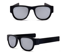 Load image into Gallery viewer, okeegadgets-black-frame-black-lens-polarized-slap-sport-foldable-wristband-sunglasses