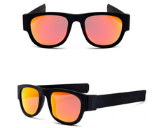 Load image into Gallery viewer, okeegadgets-black-orange-polarized-slap-sport-foldable-wristband-sunglasses