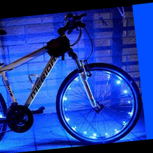 Load image into Gallery viewer, okeegadgets-led-bike-bicycle-RIM-lights-DETAIL-VIEW-BLUE-COLOR
