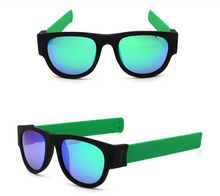 Load image into Gallery viewer, okeegadgets-green-frame-blue-lens-polarized-slap-sport-foldable-wristband-sunglasses