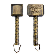 Load image into Gallery viewer, okeegadgets-hammer-of-thor-bottle-opener-bronze-gold-shown-on-side-back-view