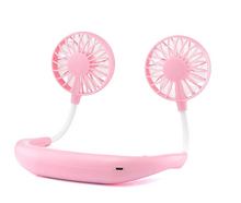 Load image into Gallery viewer, okeegadgets-mini-dual-sports-fan-PINK-BACK-VIEW