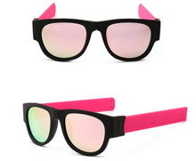 Load image into Gallery viewer, okeegadgets-pink-polarized-slap-sport-foldable-wristband-sunglasses
