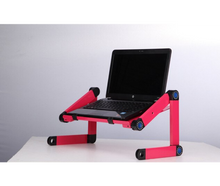 Load image into Gallery viewer, okeegadgets-adjustable-bendable-portable-laptop-desk-in-pink-shown-with-laptop