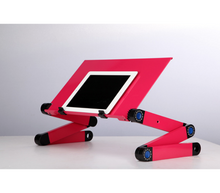 Load image into Gallery viewer, okeegadgets-adjustable-bendable-portable-laptop-desk-in-pink-shown-with-ipad-smart-tablet