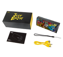 Load image into Gallery viewer, okeegadgets-portable-water-resistant-bluetooth-speaker-MIFA-just-enjoy-black-graffiti-packaging-image