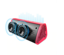 Load image into Gallery viewer, okeegadgets-portable-water-resistant-bluetooth-speaker-red-back-view-on-white-background