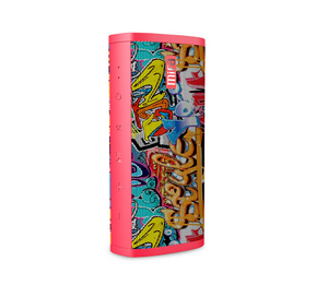 okeegadgets-portable-water-resistant-bluetooth-speaker-red-graffiti-version-standing-on-side
