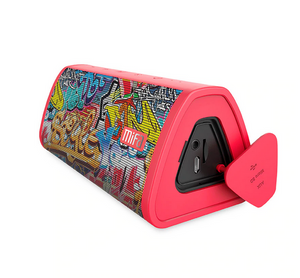 okeegadgets-portable-water-resistant-bluetooth-speaker-red-graffiti-version-on-whitebackground