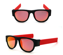 Load image into Gallery viewer, okeegadgets-red-orange-polarized-slap-sport-foldable-wristband-sunglasses