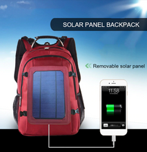 Load image into Gallery viewer, okeegadgets solar panel outdoor school book backpack with usb chargeable cord