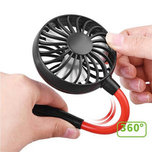Load image into Gallery viewer, okeegadgets mini portable dual fan close up of 360 degree bendability