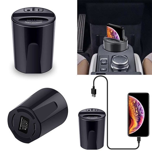 Car Wireless Cup Charger with USB Output for Smartphones