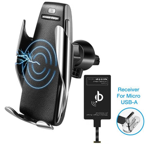 Silver S5 - Smart Sensor Wireless Car Charger With Phone Adapter