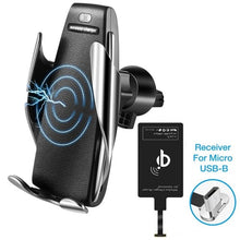 Load image into Gallery viewer, Silver S5 - Smart Sensor Wireless Car Charger With Phone Adapter