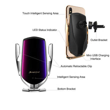 Load image into Gallery viewer, Okeegadgets smart sensor wireless car charger detailed info front and back view silver and gold