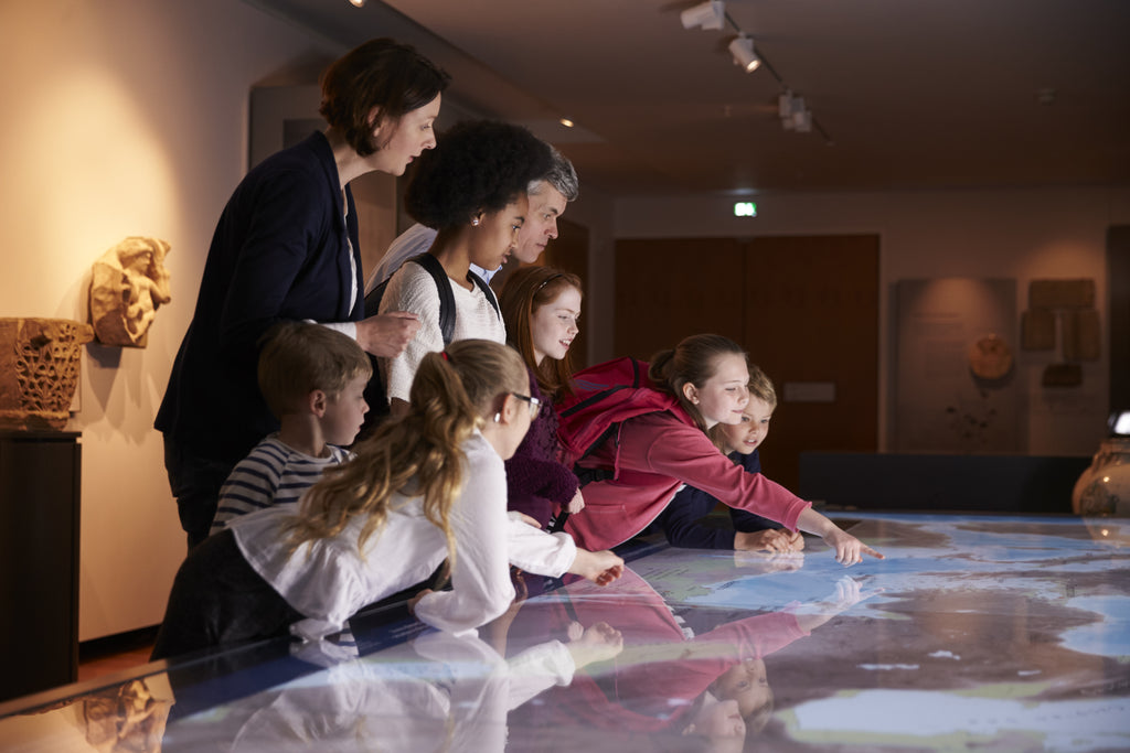 children looking at map