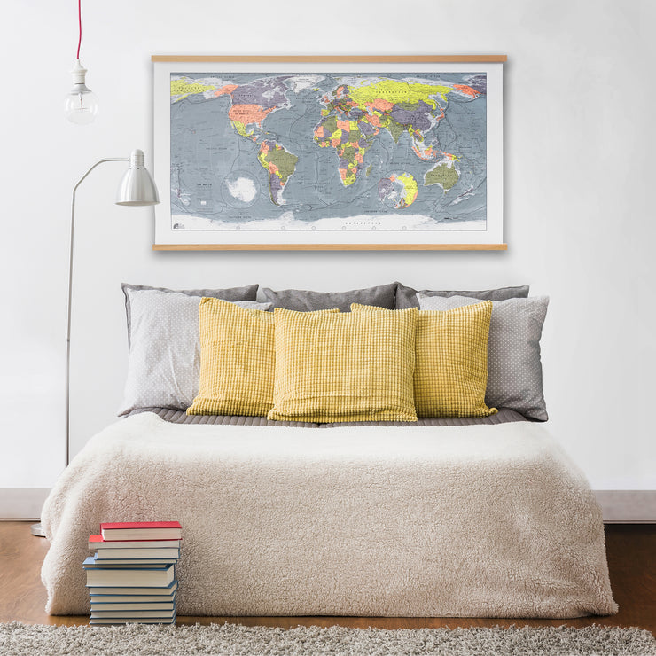 CLASSIC WORLD MAP WITH OAK HANGING RAILS