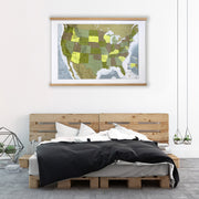 FRAMED UNITED STATES WALL MAP