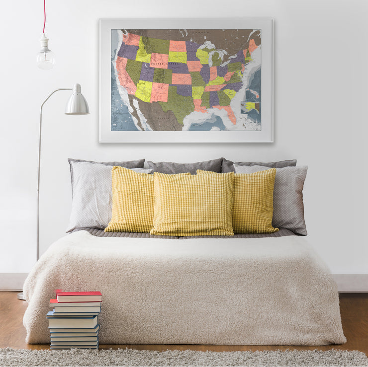 FRAMED MAP OF USA