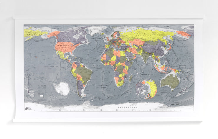 WORLD MAP WITH WHITE HANGING RAILS
