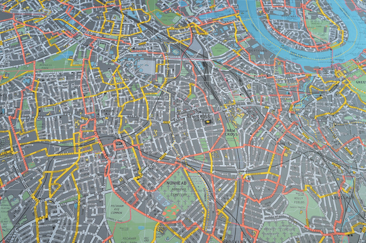 WALL MAP OF LONDON WITH WHITE HANGING RAILS