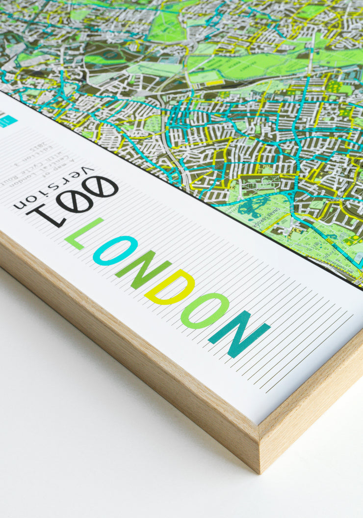 WALL MAP OF LONDON WITH OAK RAILS