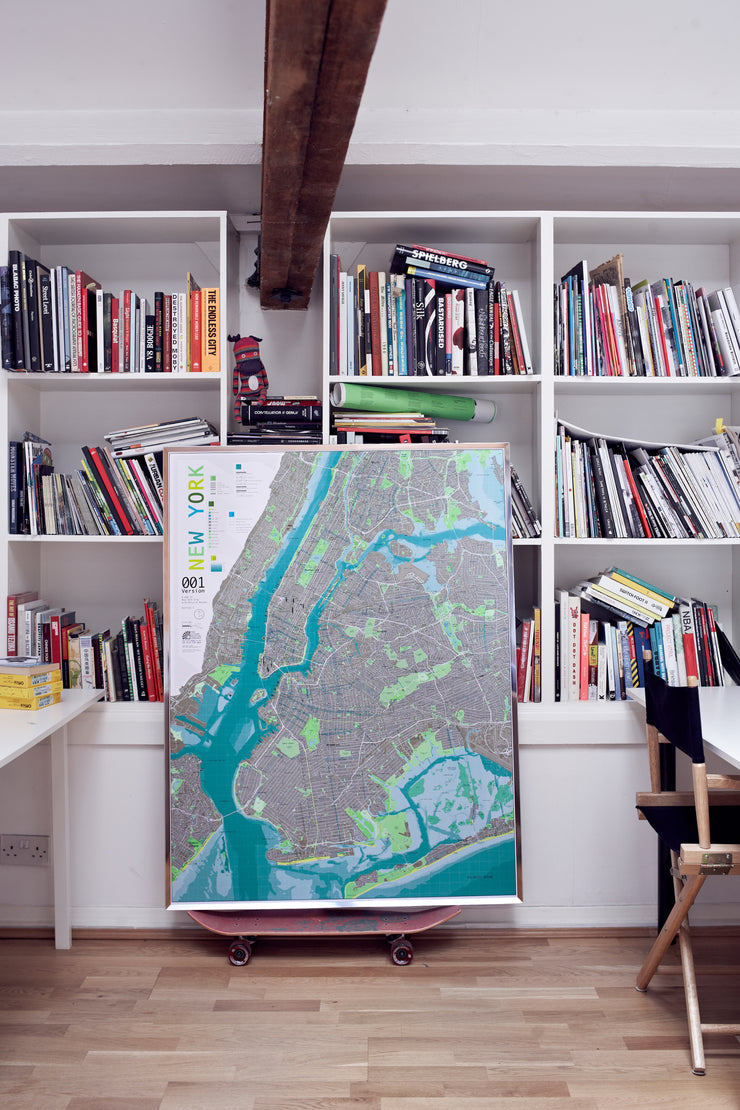 NEW YORK FRAMED WALL MAP