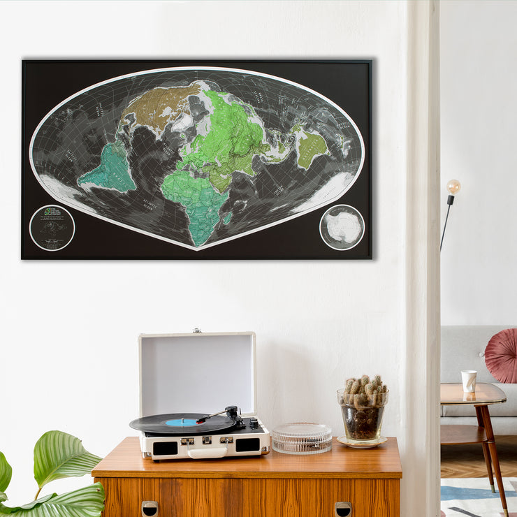 WIDE ANGLE WORLD WALL MAP