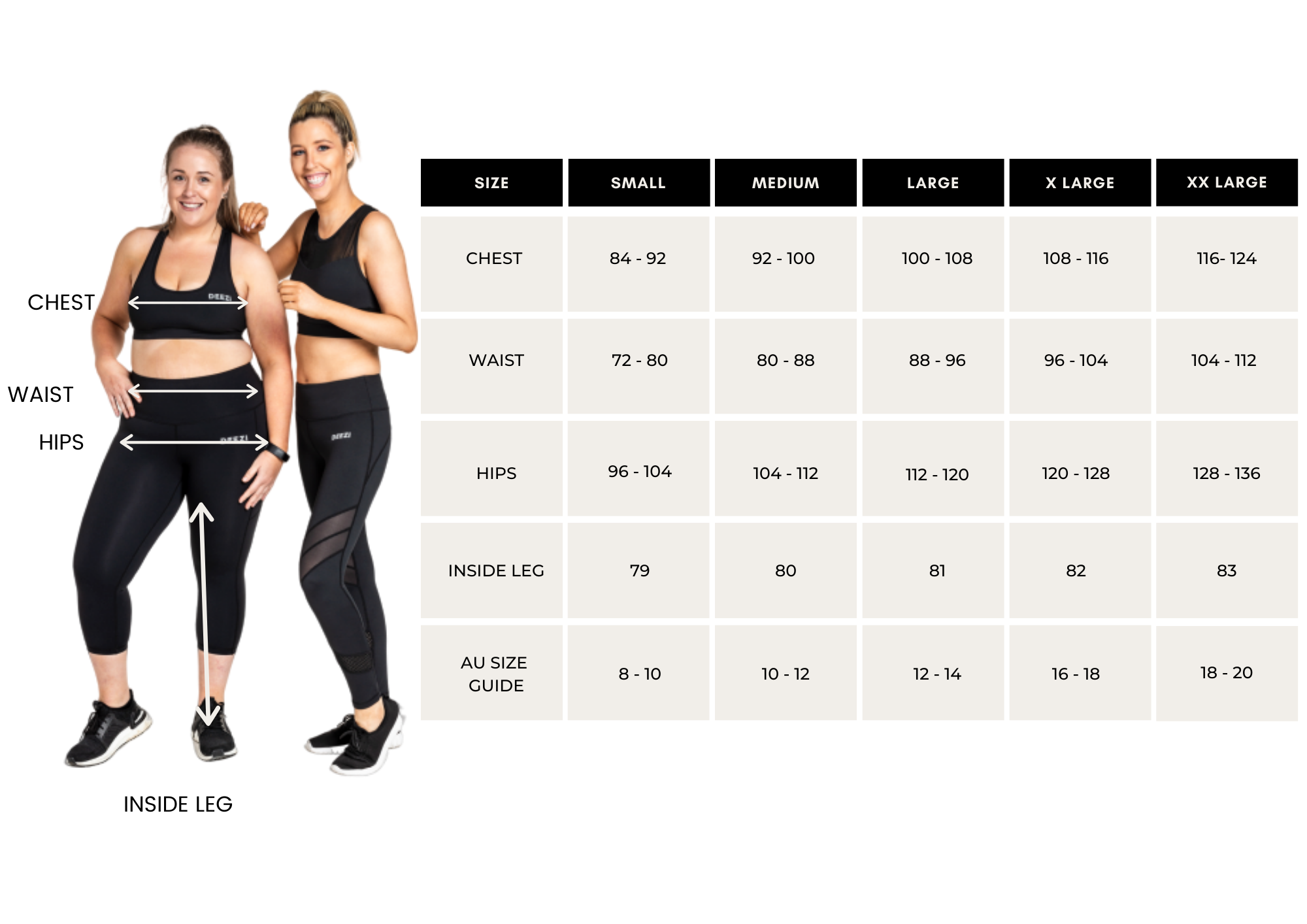 Deezi Active Size Guide chart including activewear images
