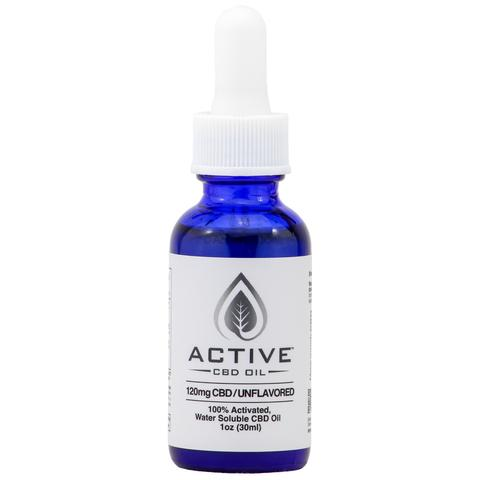 Active CBD Oil Water Soluble Tincture – 1 oz 120mg CBD (Unflavored)