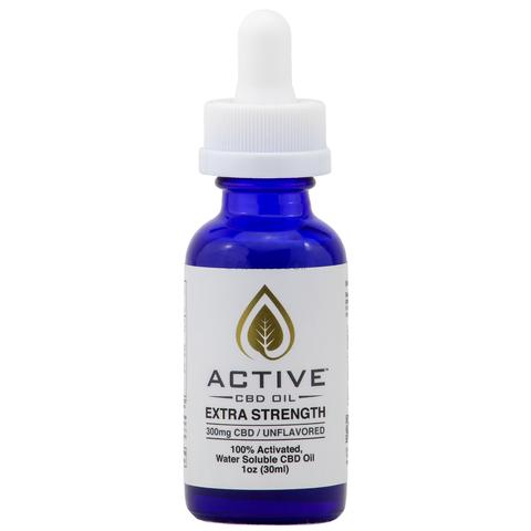 Active CBD Oil Water Soluble Tincture – 1 oz Extra Strength 300mg CBD (Unflavored)
