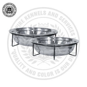 2 Stainless Steel Dog Bowls With Powder Coated Screw On Iron Brackets